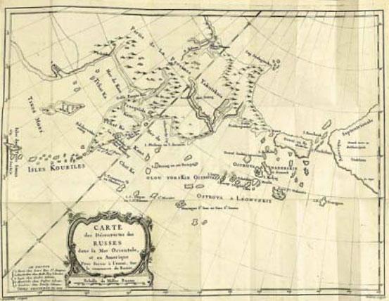 Карта открытий усских в Америке, 1777